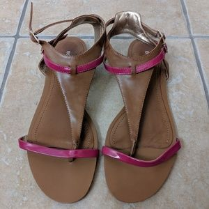 BCBgeneration pink and tan thong sandals size 10